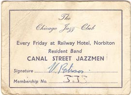 Chicago Jazz Club card