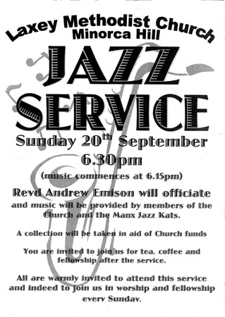 Laxey Methodist Church jazz service poster