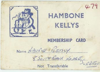 Hambone Kelly's Club Card