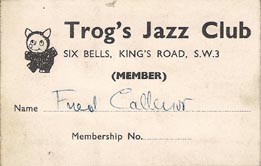 Trogs Club Membership card